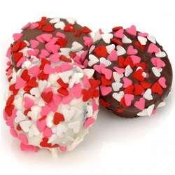 Belgian Chocolate Heart Sprinkle Valentine Oreo Cookies
