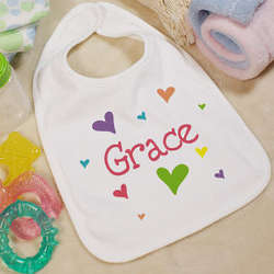 She's All Heart Personalized Baby Bib
