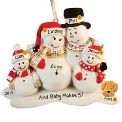 Expecting Snowfamily with Dog Personalized Ornament