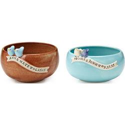 Custom Wedding Bowl with Lovebirds