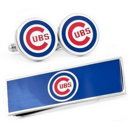 Chicago Cubs Cuff Links and Money Clip Gift Set