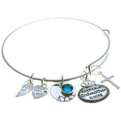 Keep Calm Godmother is Here Birthstone Charm Bracelet