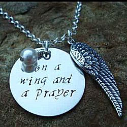 On a Wing and a Prayer Hand Stamped Necklace in Sterling Silver