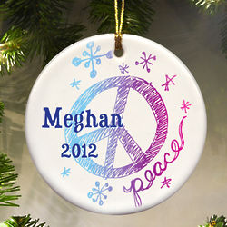 Peace, Love and Snowflakes Ornament