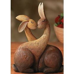 Kissing Bunny Rabbits Figurine