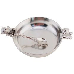 Pewter Teddy Bear Baby Feeding Dish and Spoon