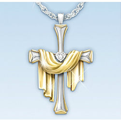 Shroud and Diamond Cross Pendant Necklace