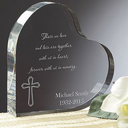 Personalized Memorial Heart with Cross