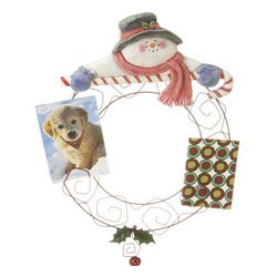 Snowman Christmas Card Holder with Candy Cane and Holly