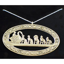 White Bronze Boston Swanboat Ornament