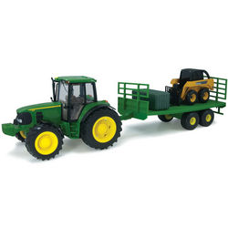 John Deere Big Farm 7330 Tractor with Wagon and Skidsteer