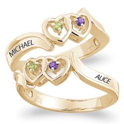 Gold Over Sterling Couple's Birthstone and Name Twin Heart Ring