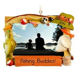 Daddy and Me Fishing Photo Frame Ornament