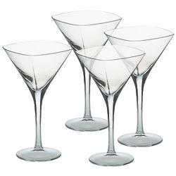 Squared-Off Crystal Martini Glasses