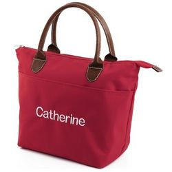 Embroidered Red Lunch Tote