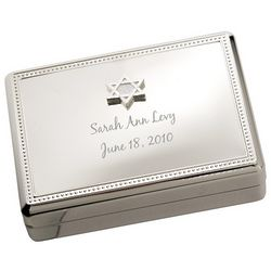 Personalized Silver Star of David Jewelry Box
