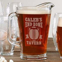 Personalized End Zone Tavern Pitcher and Football Beer Glass
