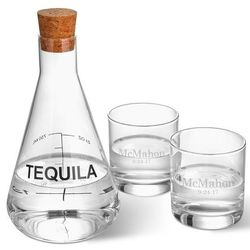 Personalized Tequila Decanter in Wood Crate with Lowball Glasses