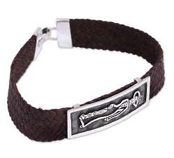 Men's Catrin Sterling Silver and Leather Pendant Bracelet
