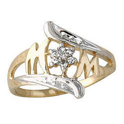 MOM Diamond Ring in 14k Yellow Gold