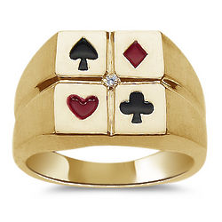 Men's Diamond Accent Enamel Poker Ring