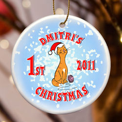 Personalized Kitty Christmas Ornament