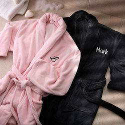 Embroidered Luxury Fleece Robe Set