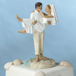 Groom Carrying Bride Beach Wedding Cake Topper