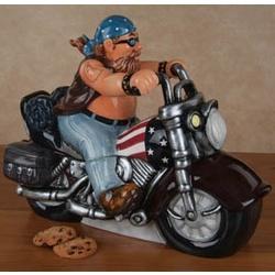 Motorcycle Americana Ceramic Cookie Jar