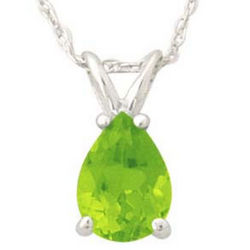 Pear Shape Peridot Pendant Set in White Gold