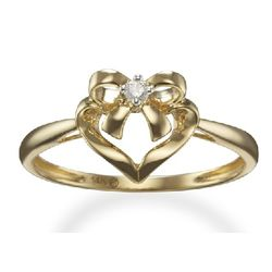 Diamond Bow Promise Ring in 14k Yellow Gold