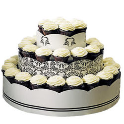 Love Bird Damask Wedding Cupcake Tower Kit
