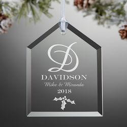 Couple's Monogram Engraved Glass Christmas Ornament