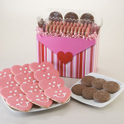 One Dozen Heart Cookies and Smiley Chocolates Gift Basket