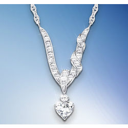 Wrapped in Love White Topaz Heart Necklace