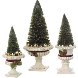 Tiered Evergreen Trees in Resin Bases