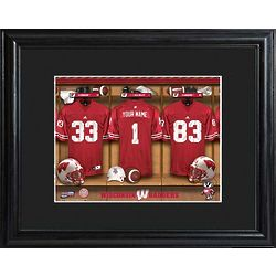 Personalized UW Badgers Locker Room Framed Print