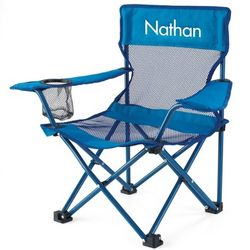 Kid's Blue Fold and Go Chair with White Name