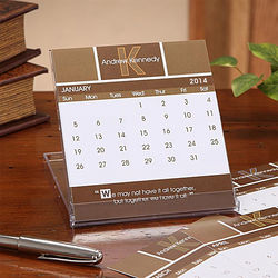 Inspirational Quotes Monogram Desk Calendar