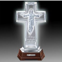 Sculpture of Jesus Glass Lighted Cross