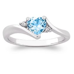 Heart Blue Topaz with CZ Accent Ring