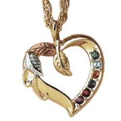 Tri-Color Family Birthstone Heart Pendant