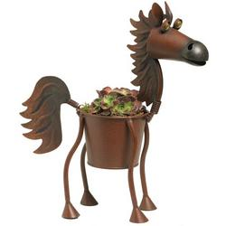 Whimsical Metal Horse Planter