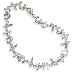 Music Note Bracelet in Sterling Silver with CZ Accents