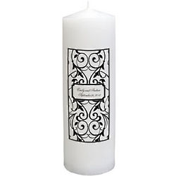 Personalized Black & White Pillar Candle