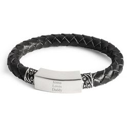 Black Leather Tattoo ID Bracelet