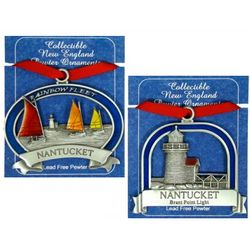 Pewter Nantucket Christmas Ornament Set
