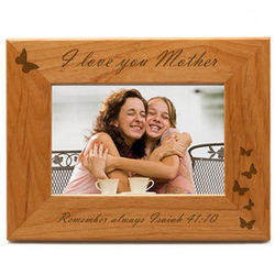 I Love You Mother Photo Frame with Butterflies