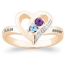 Gold Over Sterling Couple's Heart Ring with Diamond Accent