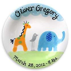 Personalized Hand-Painted Ceramic Baby Plate